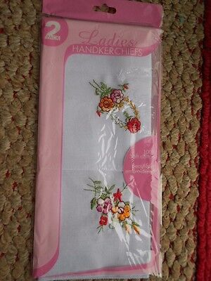 2 x Ladies Embroidered Handkerchiefs // 2 Handkerchiefs in 1 Pack // 100% Cotton