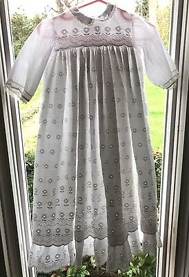 VTG White Baby Girl Christening Gown Dress Floral Eyelet Lace Reborn Doll 0-3 Mo