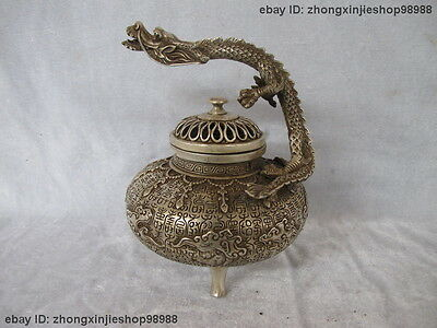 Chinese Tibet Buddhism Silver carved Flight Dragon Incense Burner Censer