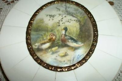 Omg Rare Antique Chic Miniature Painting Ormolu Shabby Ducks Not Portrait