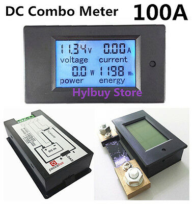 DC 100A LCD Combo Meter Voltage current KWh Watt Panel Meter 12v 24v 48v Battery