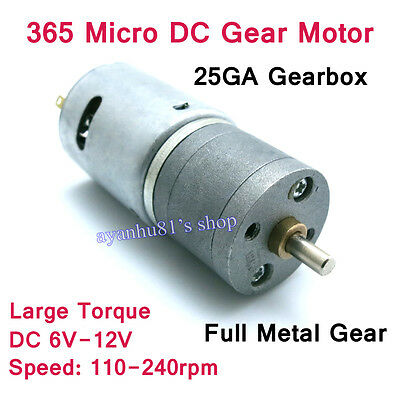 DC 6V-12V Mini Large Torque Full Metal Gear Motor 25GA Gear Box 240rpm for Robot