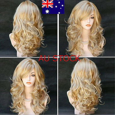 Anime Hairstyle Women Long Wave Curly Wig Little Golden Blonde Bouncy Full Wigs