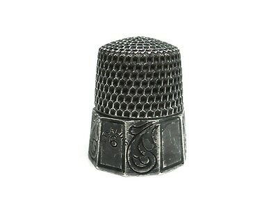 1800s SIMON'S BROS CO STERLING SILVER THIMBLE 6 FLORAL PATTERN