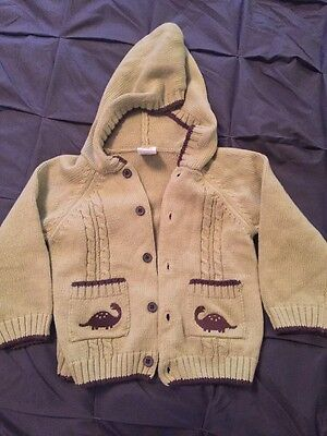 Gymboree Green Cardigan Sweater Size 12 18 Months Cable Knit Hooded Dinosaur