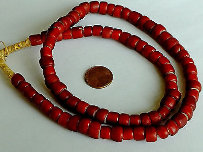 Antique Beautiful Venetian Red Whiteheart Trade Bead Strand