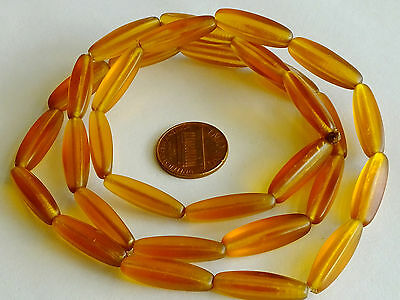 Nice Antique Bohemian Czech Amber Translucent Faceted Trade Beads Early 1900's