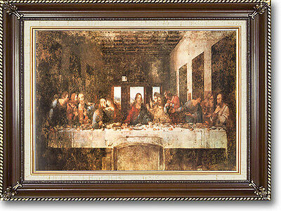 "DaVinci THE LAST SUPPER Braided Walnut Frame Canvas Giclee Art Repro 21"" x 17"""