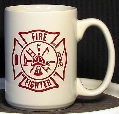 Fire Fighter Text in a Red Maltese Cross on a 12 oz. Coffee Mug **
