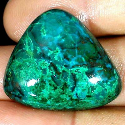 NATURAL CHRYSOCOLLA  LOOSE GEMSTONE (67ct / 32 x 29 mm) LARGE TRILLION CABOCHON