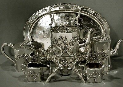 Chinese Export Silver Tea Set       163 OZ                    40 YEAR COLLECTION