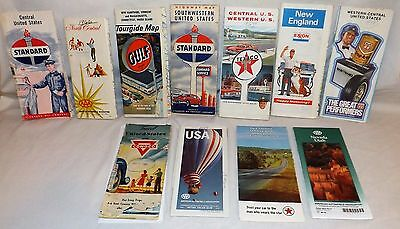 11 Pc Vintage Lot Gas Oil Company Road Travel State Highway Maps 1940's - 1980's