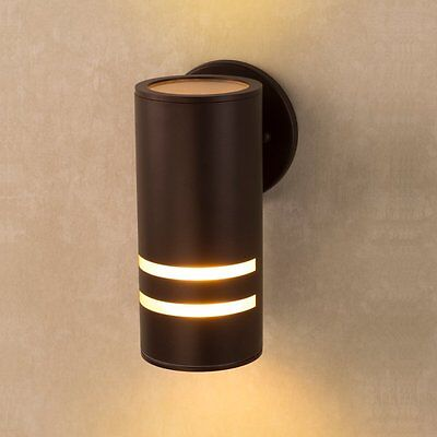 Porch Wall Lamp Outdoor Waterproof Cylinder Light Lighting Wall Sconce Brown New