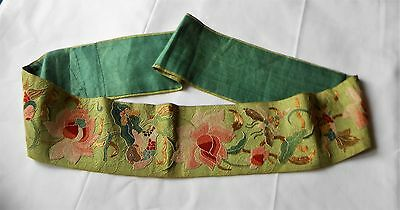 Vtg Antique Chinese Embroidery Forbidden Stitch Fish Flowers Gold Thread Robe