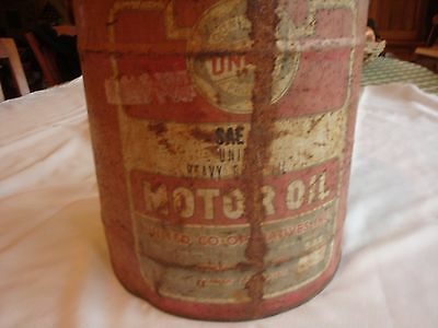 Large vintage United Cooperatives motor oil 5 gallon metal can gas station