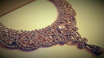 Indian Diamante Crystal Necklace Wedding Party - Adjustable (One Size Fits All)