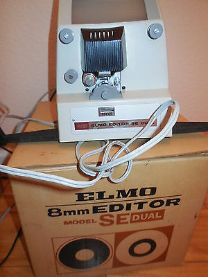 Elmo Editor Dual Type 8mm Film Viewer Editor Working Condition & Original Box