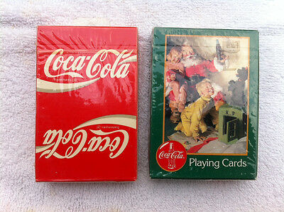 2 Deck Lot Coca-Cola Playing Cards Christmas Santa Children Dog Sealed Box 1996