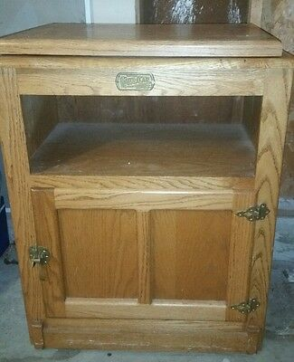 White clad ice box TV stand solid oak