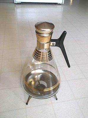 Vintage Antique Mid Century Glass Coffee Carafe Gold Design with Warming Stand