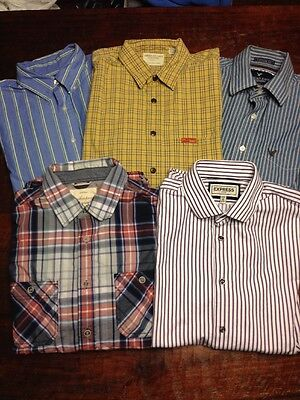Men's Button Down Shirts Lot Of 5 - Medium - Mixed Brands American Eagle Express