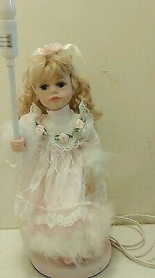 Sweet Collectible Porcelain Doll Night Light Lamp Beautiful Blonde hair
