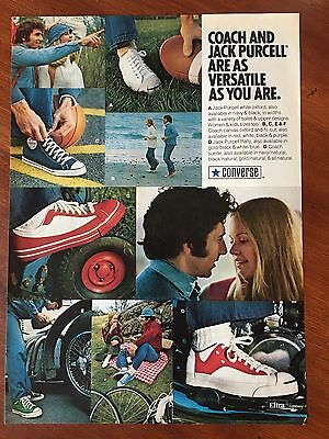 Vintage 1974 Original Print Ad CONVERSE Sneakers & Coach JACK PURCELL Oxford