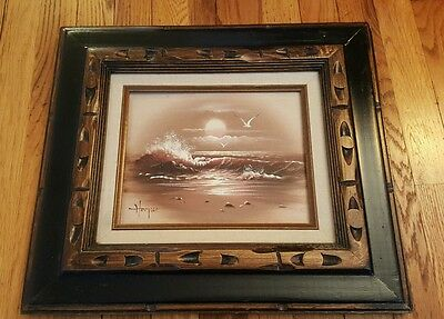 Hooper Original oil on canvas painting signed by artist Hooper wood matted frame
