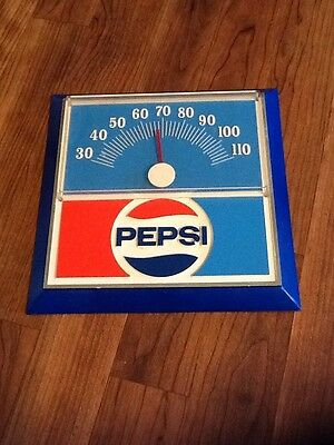 Excellent Condition 1970s Vintage PEPSI COLA  9x9 inch Dial Thermometer Sign