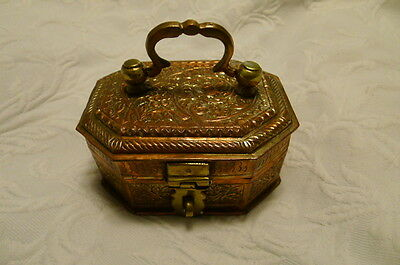1800s Indian Antique Unusual Shape Hand-Engraved Copper Pan Daan Betel Leaf Box