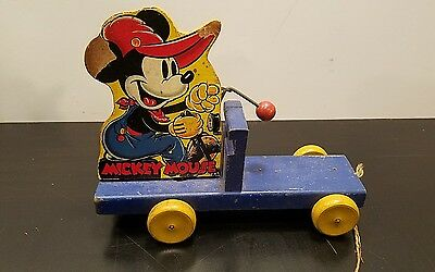 Original Rare 1938 Mickey Mouse Choo Choo Wood Pull Toy - Parts or Restoration