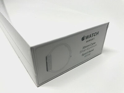 Apple Watch Series 1 38mm Silver Aluminum Case White Sport Band MNNG2LL/A New