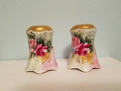 Rosenthal Versailles Bavaria Gold Top Salt and Pepper Shakers Pink Rose Flowers