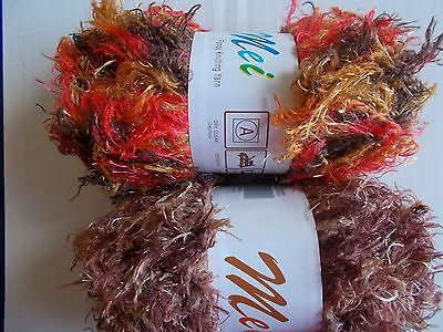 MeiMei fuzzy plush yarn, mixed lot of 2, brown tones & brown/red/orange