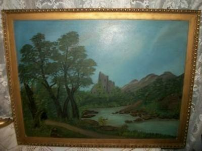 EARLY 1900s VICTORIAN LANDSCAPE OIL PAINTING CASTLE SHACK SHABBY IRELAND CHIC