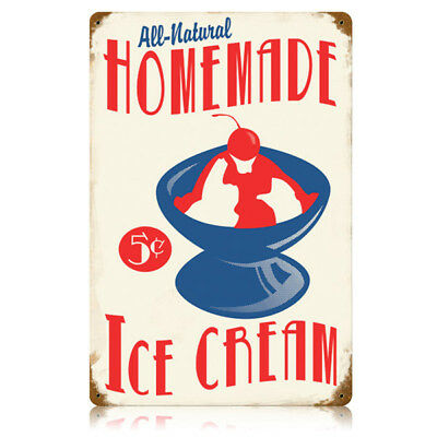 Homemade Ice Cream Cherry Sundae 5 Cents Vintage Kitchen Metal Sign 11.5 x 17.5