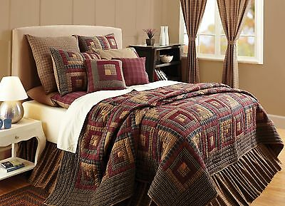 MILLSBORO King Quilt Primitive Country Rustic Log Cabin Patch Block Burgundy/Tan