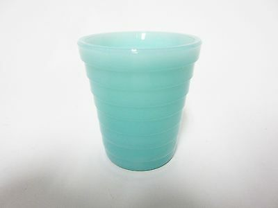 Rare Akro Agate Small Stacked Disc Child's Turquoise Water Tumbler / 8 Available