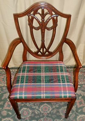 MAHOGANY DINING ARM CHAIR Shield Back Carved VINTAGE
