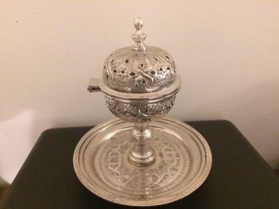 Antique Eastern Turkish Ottoman Silver  Incense Burner Candlestick. Marked