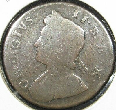 1735 Great Britain UK England George II Old 1/2 Half Penny Coin