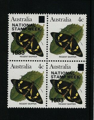 Australia 1983 National Stamp Week - 4c Butterfly overprint in Block of 4 MNH