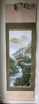 Vintage Signed Japanese Wall Hanging Scroll w/ Wooden Box