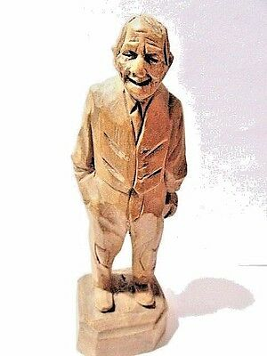 Small Wooden Carved Man Comical Skillful Detailed Statue Statuette Figure