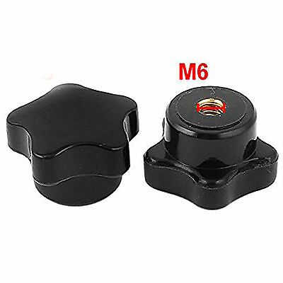 1pcs Black Plastic M10 10mm Female Thread Star Shaped Head Clamping Nuts Knob
