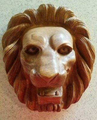 Vintage Large Hand Carved Wood Wooden Lion Face Wall Hanging