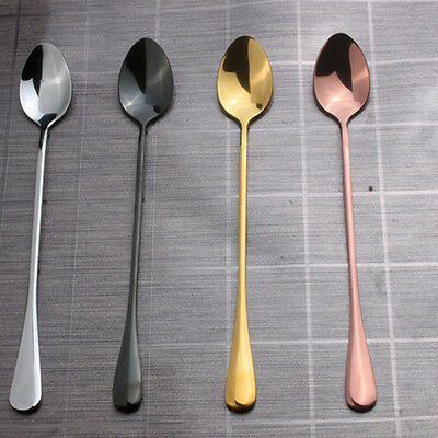 4 Color Stainless Steel Spoon With Long Handle Ice Spoon Coffee Spoon Tea Good