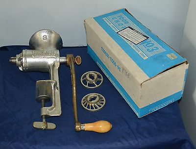Vintage Universal #3 Meat Grinder with Box - Hand Crank Tool