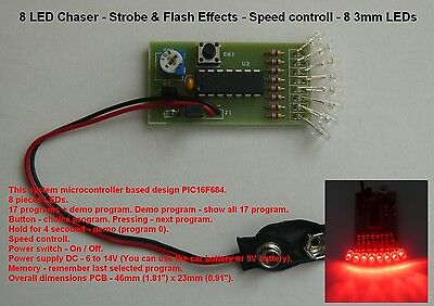 8 LED  Chaser - Strobe & Flash Effects - Speed controll - 3mm LEDs RED
