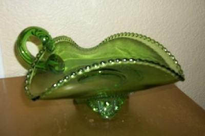 Vintage Chic Green Glass Candlewick Footed Handled Dish Shabby Hollywood Regency